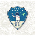 moon mission logo badge patch concept vector image