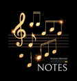 music notes set with treble clef gold and elegant vector image