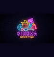 neon sign for cinema vector image vector image