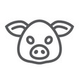 pig line icon animal and zoo pork vector image