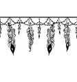 seamless border with chains and feathers vector image vector image