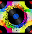 seamless texture with a vinyl record music notes vector image