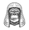 serious gorilla in monochrome style vector image vector image