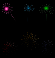 Set colorful fireworks on dark background vector image vector image