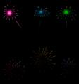 Set colorful fireworks on dark background vector image