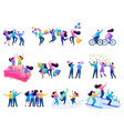 set concepts friendship flat 2d characters vector image