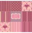 Set of pink vintage patterns vector image