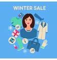 Shopping Winter Sale in Flat Design with Woman vector image