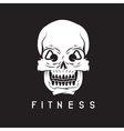 skull with kettlebells in eyes fitness concept vector image vector image