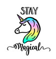 stay magical cartoon unicorn drawing and lettering vector image
