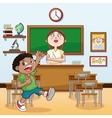 teacher boy classroom back to school design vector image