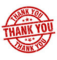 thank you round red grunge stamp vector image vector image