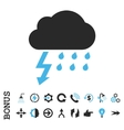Thunderstorm Flat Icon With Bonus vector image