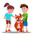 two children petting a happy dog isolated vector image vector image