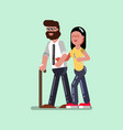 voluntire female helps to blind man vector image vector image