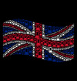 waving united kingdom flag mosaic of flask items vector image