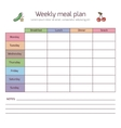 Weekly meal plan mealtime diary vector image vector image