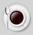 white cup of coffee with spoon on saucer on grey vector image vector image