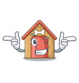 wink cartoon dog house and bone isolated vector image vector image