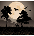 big yellow moon and silhouettes of trees vector image