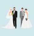 Beautiful elegant Wedding couples collection set vector image
