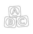a b c baby toy brick block icon vector image vector image