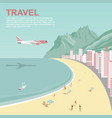 airplane flying over copacabana beach in rio vector image vector image