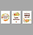 autumn set cards autumn sale harvest market design vector image
