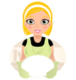 Beautiful cooking girl holding plate vector image vector image