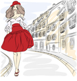 Beautiful fashion girl top model in summer dress vector image vector image