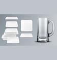 beer cup and coasters empty tankard and bierdeckel vector image
