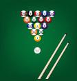 billiard balls poster vector image vector image