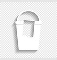 bucket and a rag sign white icon with vector image vector image