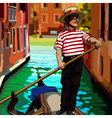cartoon man gondolier on the boat floating vector image vector image