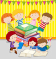 Children reading books together vector image vector image