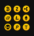 cryptocurrency symbols set vector image vector image