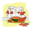 cute bears eating a slice of watermelon vector image vector image