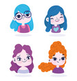 cute girls portrait cartoon character vector image vector image