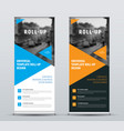 design of roll-up banners with blue and orange vector image vector image