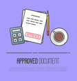 document with red stamp approved vector image