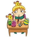 Easter kid vector image