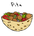 falafel pita or meatball salad in pocket bread vector image