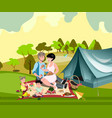 family in nature with a tent vector image vector image