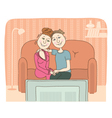 Family watching television in room vector image vector image
