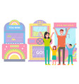 family with two children in gaming room vector image