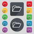 Folder icon sign A set of 12 colored buttons and a vector image vector image
