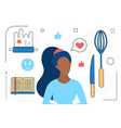 food cooking woman character chef tools vector image vector image