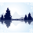 Fur-trees with reflection in frozen water and moun
