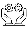 gear cog company in hands icon outline style vector image vector image