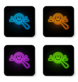 glowing neon magnifying glass for search a people vector image vector image